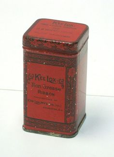 Tall Red Rectangular Vintage Kee Lox Time Clock Ribbon Tin by CanemahStudios on Etsy