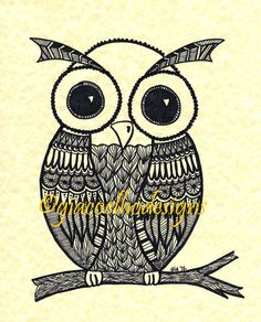 Owl Zentangle Illustration Art Print by Gia Coelho - Zen Tangle Design 8 x 10 Inches. $20.00, via Etsy.