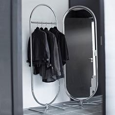 Design by Verner Panton. By Verpan. The System Rack is a simple and stylish storage solution that is both functional and fashionable, whether tucked away or on display. The Rack pairs perfectly with the Mirror and Divider elements from the series. Floor Standing Mirror, Floor Mirror, Double Sided Mirror, Cantilever Chair, Panton Chair, Unique Mirrors, Storage Mirror, Modern Spaces, Danish Design
