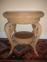 Very Rare Museum Quality Antique Natural Wicker Parlor Table Heywood Brothers and Wakefield Company