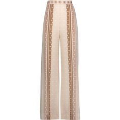 Jonathan Simkhai - Printed Washed-silk Wide-leg Pants ($194) ❤ liked on Polyvore featuring pants, trousers, multi, high waisted wide leg pants, high rise pants, elastic waist pants, elastic waistband pants and high-waisted pants