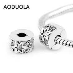 10 Pcs a Lot Silver Copper Stopper Beads Star Clip Lock European Bead Round DIY Charm Beads Fit For Pandora Charms Bracelet