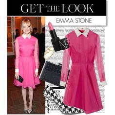 Get the Look: Emma Stone by polyvore-editorial on Polyvore featuring moda, Valentino, Salvatore Ferragamo, Irene Neuwirth, NARS Cosmetics, Nicki Minaj, GetTheLook, get the look and emma stone