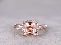2.4 Carat Cushion Cut Morganite Engagement Ring Diamond Promise Ring 14k Rose Gold Infinity Twisted Halo Stacking Band