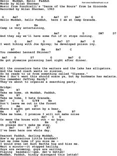 Rock and pop song lyrics with chords for Hello Muddah, Hello Fadduh - Allan Sherman, 1963 Pop Song Lyrics, Lyrics And Chords, Pop Songs, Music Tabs, Uk Music, Easy Guitar Tabs, Ukulele Chords Songs, Lead Sheet, Guided Reading