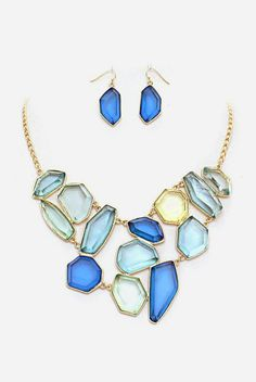Josephine Necklace in Cascading Blues