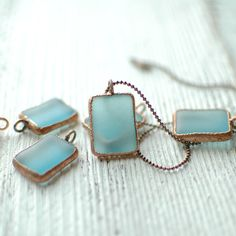 Bombay Sapphire Copper Charm Rectangle Necklace // by reVetro