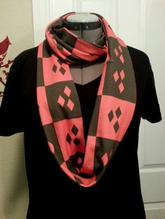 Harley Quinn Infinity KNIT scarf  made to by NerdAlertCreations, $40.00