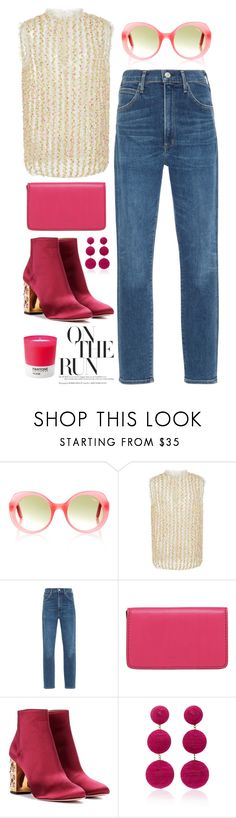 """""""On the Run"""" by cherieaustin ❤ liked on Polyvore featuring CF. Goldman, Citizens of Humanity, Lodis, Aquazzura, Rebecca de Ravenel and Pantone"""