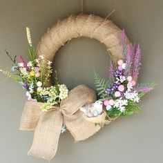 Easter wreath Spring decoration Floral wall hanging Floral wreath arrangement by PachaMama Designs