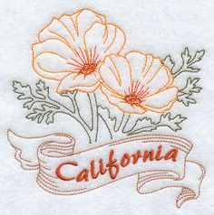 Machine Embroidery Designs at Embroidery Library! - All State Flowers (Redwork) Machine Embroidery Designs, Embroidery Stitches, Embroidery Patterns, Flower Embroidery, Stitch Patterns, California Poppy Tattoo, California California, California Poppy Drawing, California Tattoos