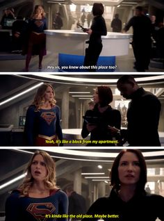 """""""It's like a block from my apartment. It's kinda like the old place. Maybe better"""" - Alex, Kara and Jon #Supergirl"""