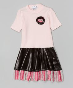 Love this Pink & Black Faux Leather Dress - Infant, Toddler & Girls on #zulily! #zulilyfinds