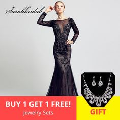 0d5aac15a80fc Luxury Black Long Sleeve Evening Dresses with Full of Beading Crystal Tulle  Long Mermaid Prom #