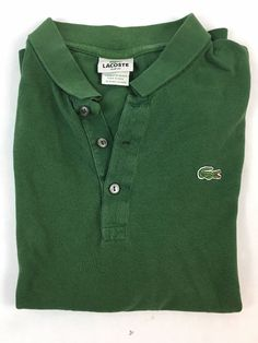 LACOSTE Mens Size 7 Green Polo Shirt 100% Cotton designed in france