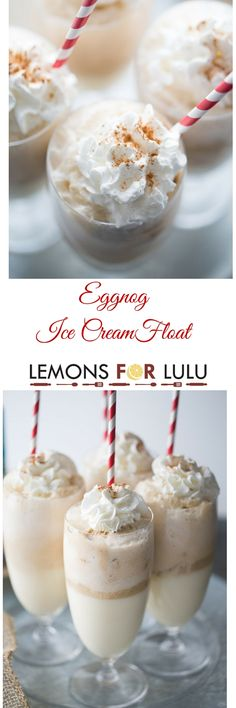 Cinnamon ice cream is mixed with creamy eggnog and topped with ginger ale in this easy ice cream treat! This ice cream float is a nice change from your ordinary eggnog drink recipe, it's a fun holiday sweet that is fun for all ages! lemonsforlulu.com ShareYourDelight: