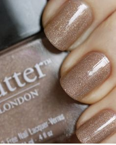 "Obsessed with butter LONDON's ""All Hail the Queen,"" a perfectly subtle beige with a holographic edge!"