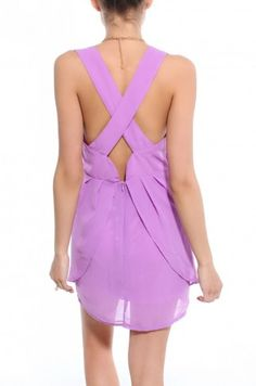 Cross Back Chiffon Sleeveless Dress in Lilac 40