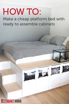 29 ideas bedroom storage furniture diy platform bed for . 29 ideas bedroom storage furniture diy platform bed for Cheap Platform Beds, Platform Bed With Storage, Bed Platform, Ikea Platform Bed Hack, Raised Platform Bed, Platform Bedroom, Diy Storage Furniture, Bedroom Storage, Diy Bedroom