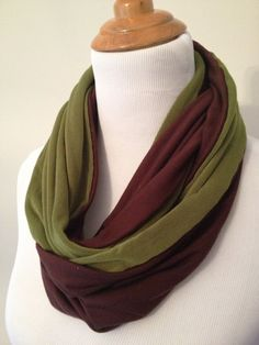 Jersey Infinity Scarf Green & Brown by SBDesigns2012 on Etsy, $25.00