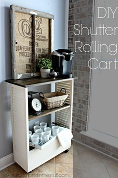 DIY Shutter Rolling Cart | A Diamond in the Stuff