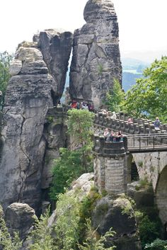 Cliffs of Bastei - Germany - The Bastei is a rock formation towering 194 m (636ft)  above the Elbe River in the Elbe Sandstone Mountains of Germany.
