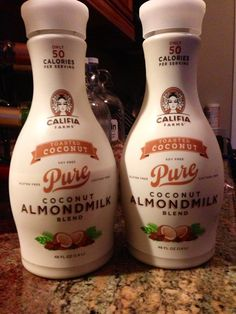 My new FAVORITE Almond/Coconut Milk. Move over Blue Diamond Blend.  Califia Farms Pure Coconut Almond Milk Blend is to die for. Brought the coconut flavor, taste amazing only at 50 calories per serving. Lactose Free, Soy Free and Gluten Free. Has a cool bottle too. Brought it at a local Whole Foods. Highly Recommend. Check out the website . www.califiafarms.com