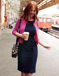 Boden navy dress and pink cardi