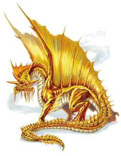 Dragon, Gold (from the D&D fifth edition Monster Manual). Art by Autumn Rain Turkel.