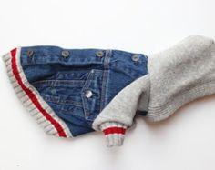 Upcycled Denim Dog Jacket with Sweatshirt Sleeve by PupCycleCanada