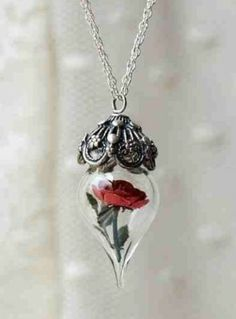 necklace flower tear drop jewels beauty and the beast rose
