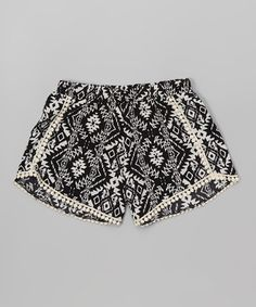 Another great find on #zulily! Black & White Geometric Shorts #zulilyfinds