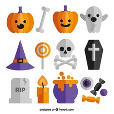 Cute halloween icons Free Vector