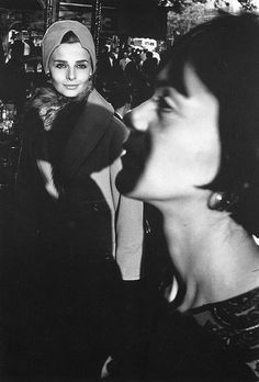 Iris Bianchi and artist Carol Lobravico, photo by Frank Horvat for Harper's Bazaar, Paris, 1962