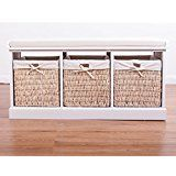 White Wickers Storage Bench with Cushion Seat ,Big And Small size hallway (3 Wickers Bench): Amazon.co.uk: Kitchen & Home
