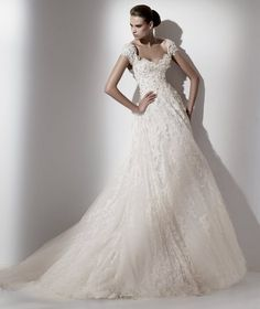 Elie Saab Wedding Dress 2012 style Caelum,Cap Sleeve Low V-back