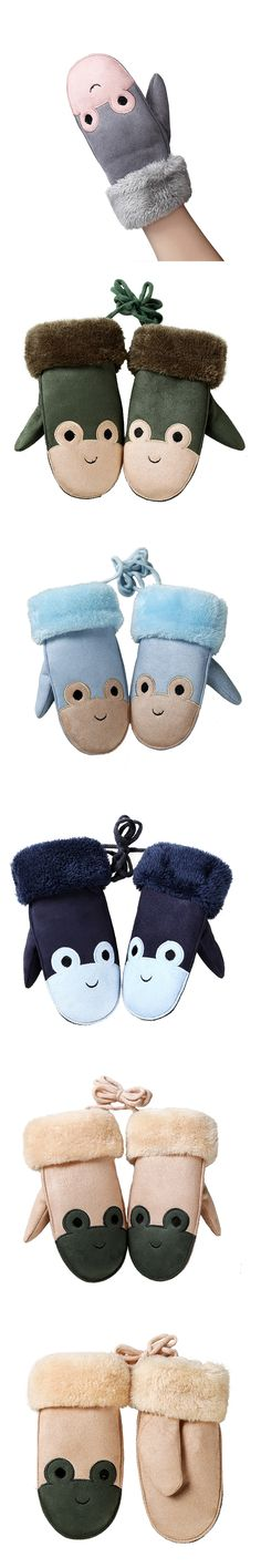 Children's Lovely Cartoon Frogs Mittens Winter Warm Thick Cashmere Suede Leather Boy/Girls Faux Sheepskin Gloves Kids Gifts 100E