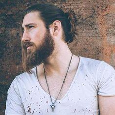 men's bun for long hair and beard
