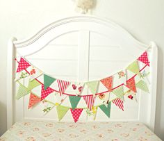 Green Apple And Cherry Holiday Fabric Bunting by AFeteBeckons, $20.25