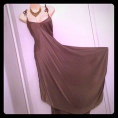 eve Khaki Brown Spaghetti Strap Gown Simply elegant flowing silk gown with an uneven hem. Easy to wear, comfortable and elegant. EUC. From my closet to yours! eve Dresses