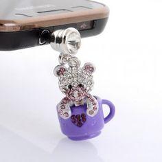 Cute teddy bear in a cup phone charm