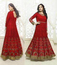 Red Georgette Party Wear Salwar Kameez Pakistani Anarkali Indian Bollywood Suit #Shoppingover #SalwarKameez