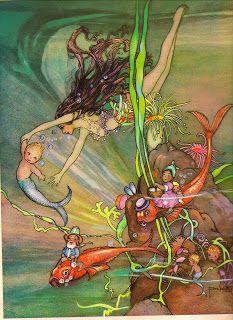 Art Nouveau Merbaby Mermaid Fabric Block Cotton Print for Quilt 5 x 7 Fantasy Mermaids, Mermaids And Mermen, Mermaid Fabric, Mermaid Art, Mermaid Nursery, Vintage Fairies, Vintage Mermaid, Sirens, Arte Elemental