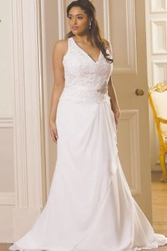 Halter style #plussizeweddingdresses can be created with custom changes.See more #brides at www.dariuscordell.com