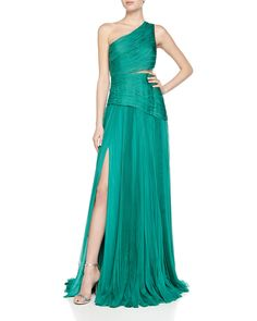 J. Mendel One-Shoulder Mousseline Pleated Gown, Cargo
