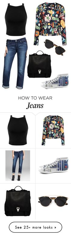 """Jeans"" by lolyspa on Polyvore featuring Love Moschino, Proenza Schouler, Christian Dior, Miss Selfridge, DL1961 Premium Denim, women's clothing, women's fashion, women, female and woman"
