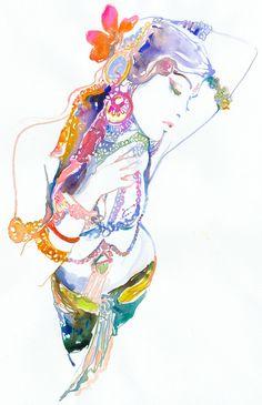Watercolor Fashion Illustration Print - Indianink 7. $75.00, via Etsy.