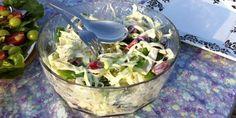 Mexicansk coleslaw Coleslaw, Grill, Potato Salad, Potatoes, Ethnic Recipes, Food, Philly Cream Cheese, Cilantro, Coleslaw Salad