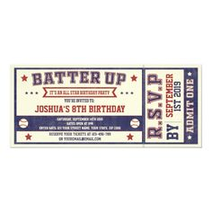 Vintage Baseball Ticket Birthday Invitation Sweet 16 Invitations, Baby Shower Invitations For Boys, Birthday Party Invitations, Wedding Invitations, Invitation Cards, Invites, Baseball Birthday Party, Sports Birthday, 16th Birthday