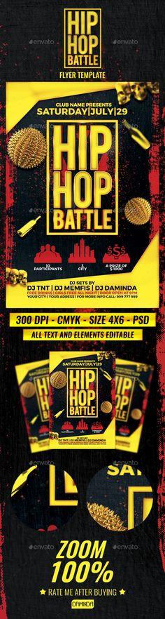 Hip Hop Battle Flyer Template PSD. Download here: https://graphicriver.net/item/hip-hop-battle-flyer-template/16994481?ref=ksioks